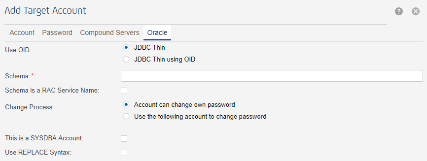 Oracle Target Account Configuration