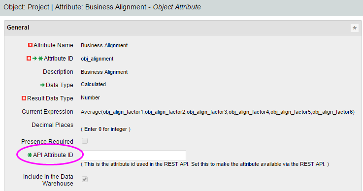 This image illustrates that you enter a value in the API Attribute ID field.