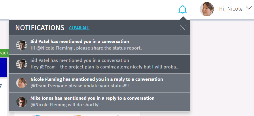 This image shows conversation notifications in the CA PPM New User Experience