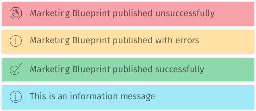 This image shows the four types of messages in the new user experience.