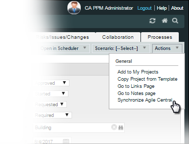 The image shows the Synchronize Agile Central action available from the agile project Actions menu