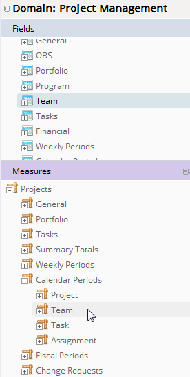 The image shows how to select metrics from the Team set when working with team data in the Project Management domain