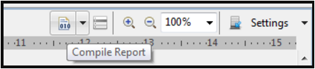 This image shows the Compile Report icon.
