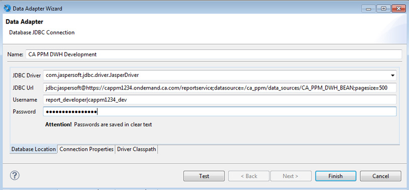 image displaying the report developer username and password created in Advanced Reporting