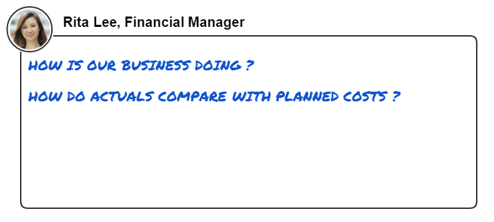 This image shows common questions that a finance manager wants to answer