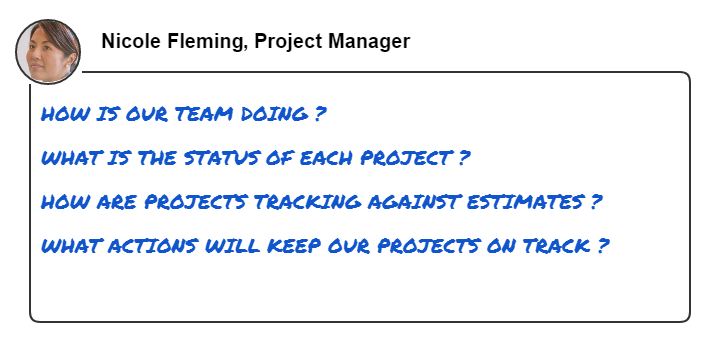 This image shows common questions that a project manager wants to answer