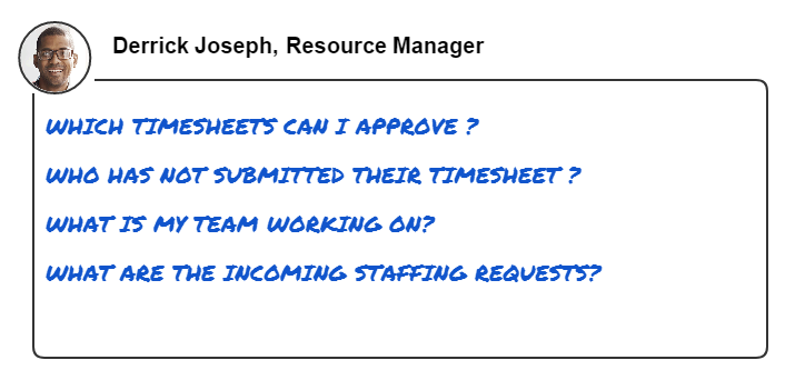 This image shows common questions that a resource manager wants to answer
