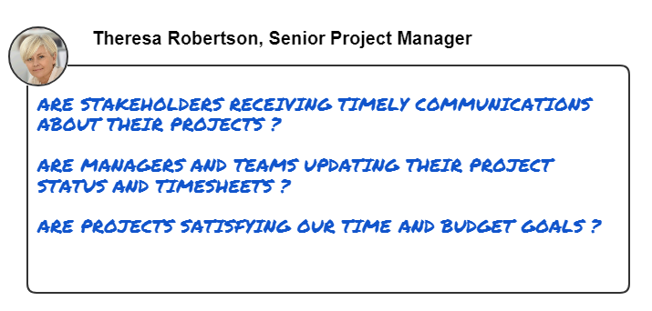 This image shows common questions that a senior project manager wants to answer