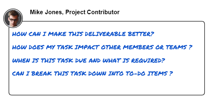 This image shows common questions that a team member wants to answer