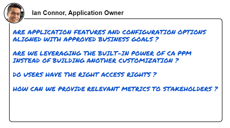 This image shows common questions that an application owner wants to answer