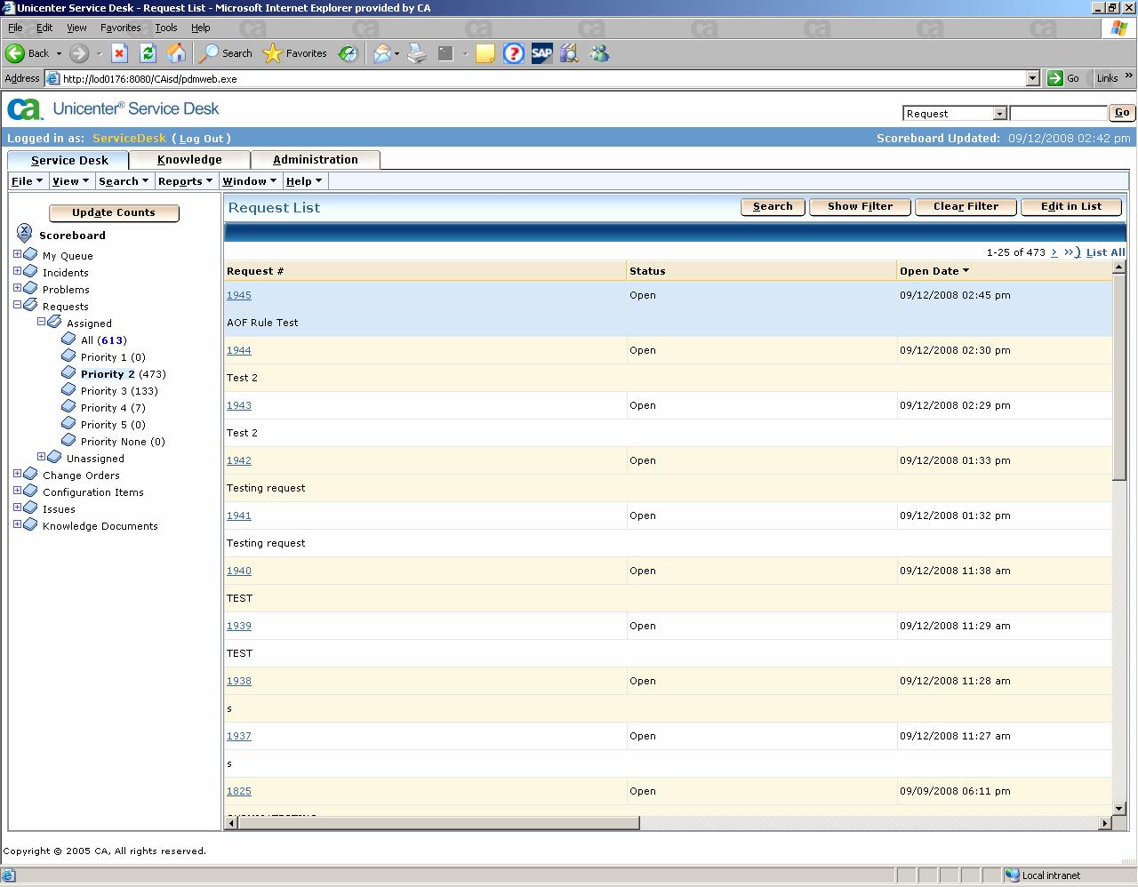 ADDRESS SERVDESK -- Create Service Desk Requests