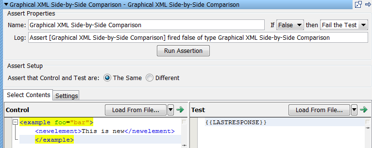 Graphical XML Side-by-Side Comparison