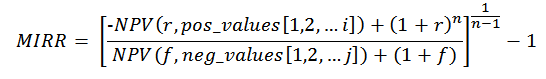This formula illustrates how to calculate MIRR.