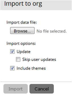The image shows the Import to Org options