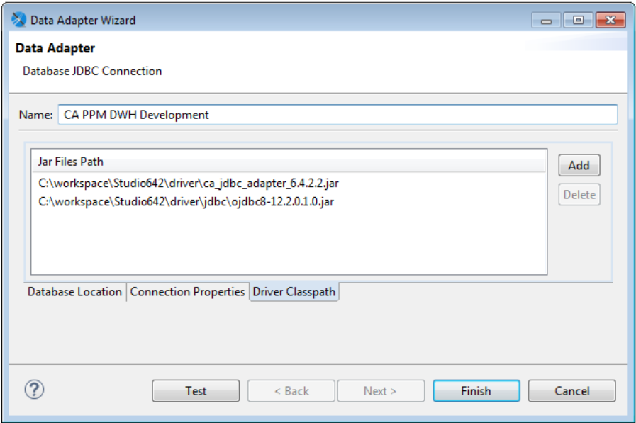 This image shows sample JAR file paths on the Driver Classpath tab.