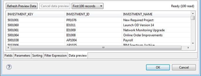 image showing the Data Preview tab where you verify that the query returns the expected data.