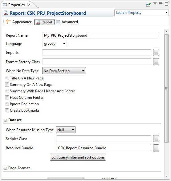 The image shows the Properties tab displaying the report properties