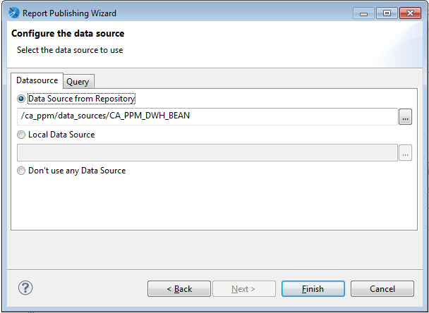 The image shows the Configure the data source window where you select a data source.
