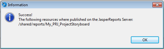 The image shows the message that appears when resources are published successfully on the JasperReports Server