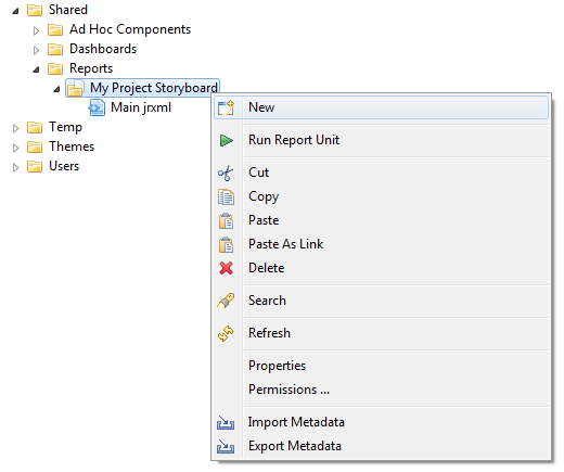The image shows an example of a Project Storyboard report folder