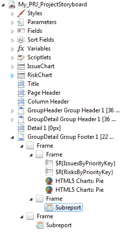 The image displays the GroupDetail Group Footer 1 sub report elements