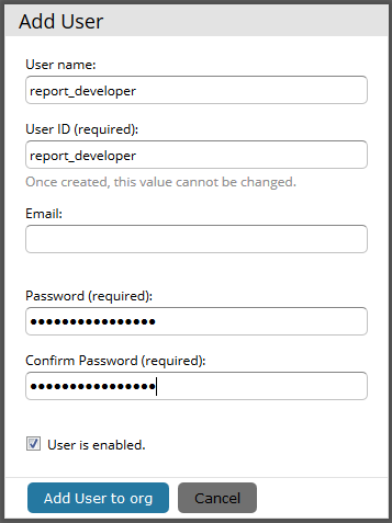 The image shows the Add User dialog for creating a report developer user in Jaspersoft